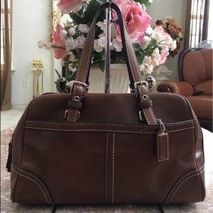 COACH Hampton Brown Leather Satchel Bag F11198 EUC